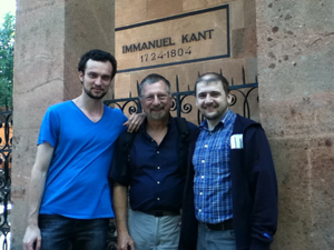 Strenski and 2 colleagues at tomb of Immanuel Kant